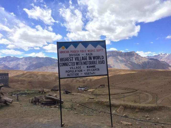 Signboard for the village of Komic in Spiti Valley. Photo by Abhimanyu Chakravorty. From indianexpress.com