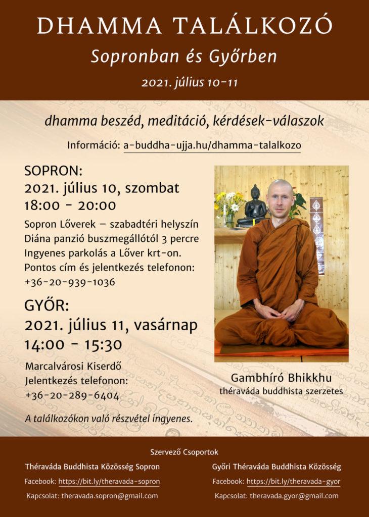 Dhamma találkozó Gambhíró Bhikkhuval – ajánló